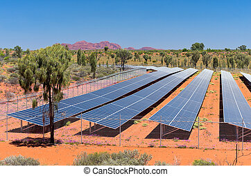 solar photovoltaic renewable energy facility near ayers rock resort in northern territory of australia