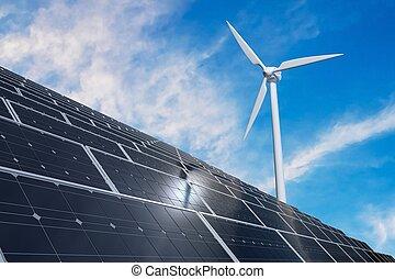 Solar photovoltaic panels and wind turbines. Alternative energy