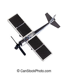 Solar plane - a metal toy plane with solar panels isolated...