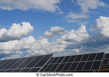 solar plant - solar collector energy plant outside against...