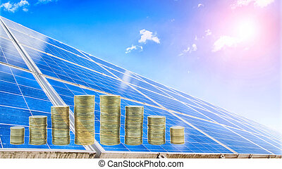 solar plant - solar panels photovoltaic, money