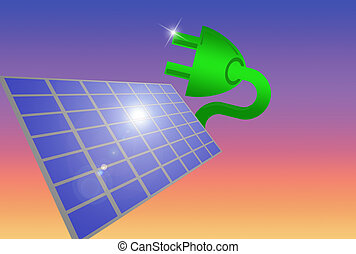 Solar plug - green energy plug coming out of solar panel