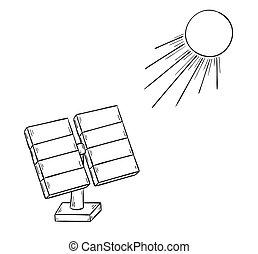 solar power and sun - sketch of the solar power and sun,...