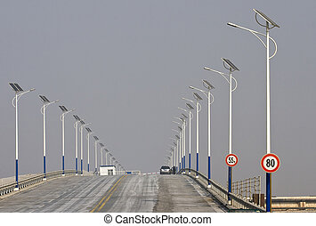 Solar Power - Bridge with solar power lamps in DongYing,...