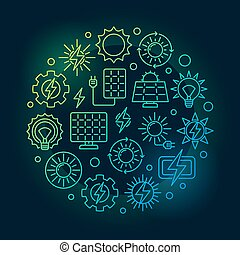 Solar power circular colorful illustration. Vector renewable...