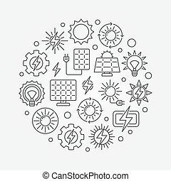 Solar power circular illustration. Vector renewable solar...