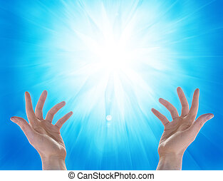solar power - hands and sun on blu background