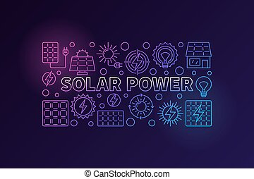 Solar power colorful banner. Vector renewable energy concept...