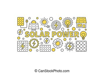 Solar power concept banner on white background. Vector...