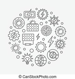 Solar power concept illustration - vector circular symbol...