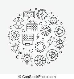 Solar power concept illustration - vector circular symbol...