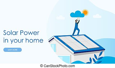 Solar power concept landing page. Solar cell system home.