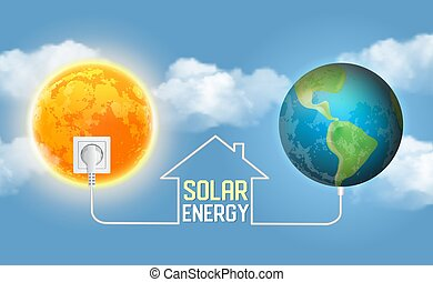 Solar power concept vector realistic illustration. Eco house...
