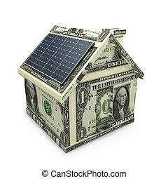 Solar power dollar house - Solar power panels on a dollar...