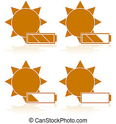 Solar power - Concept illustration showing a battery in...