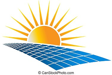Solar Power Energy Logo Vector Illustration in white...