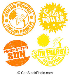 Set of solar power energy stamps on white, vector illustration