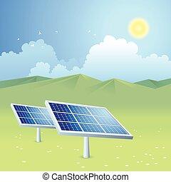 Solar power - Sunny landscape with solar panels, renewable...