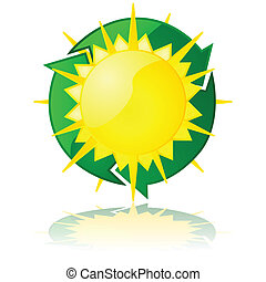 Solar power - Glossy illustration showing a sun with a...
