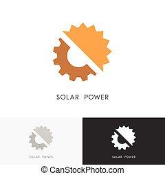 Solar power logo - sun and gear wheel or pinion symbol....