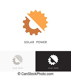 Solar power logo - sun and gear wheel or pinion symbol....