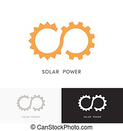 Solar power logo - sun, gear wheel or pinion and infinity...