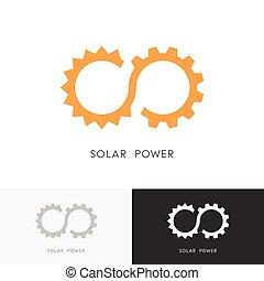 Solar power logo - sun, gear wheel or pinion and infinity...