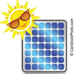 solar power panel with happy sun on white
