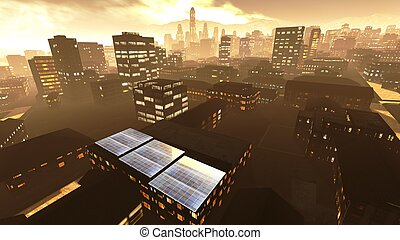 Solar power panels in city - panoramic view
