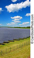 solar Power - solar power station under blue sky, panels...