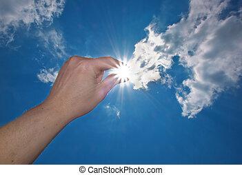 solar power - one hand catch the sun