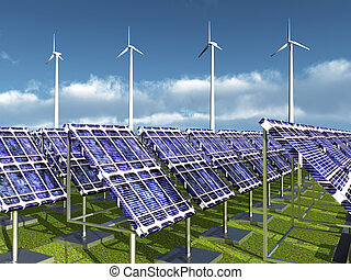 Solar Power Plant and Wind Farm