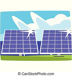 Solar power plant, ecological energy producing station, renewable resources horizontal vector illustration