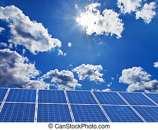Solar power plant for solar energy - Solar panels against a...