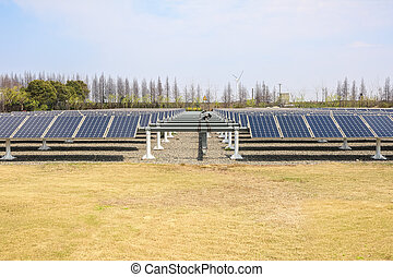 solar power plant - group of solar energy panels ,renewable...