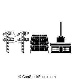 Solar power plant icon. Vector illustration design