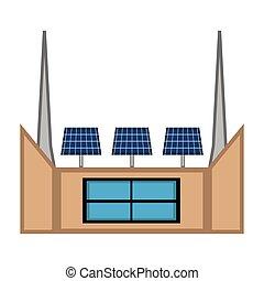 Solar power plant image. Vector illustration design