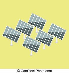Solar power plant isometric vector - Solar power plant...