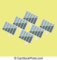 Solar power plant isometric vector
