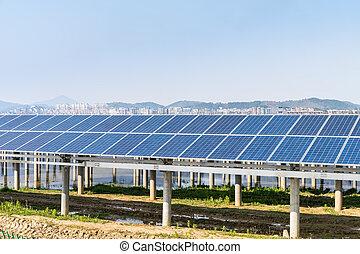solar power plant near a small town