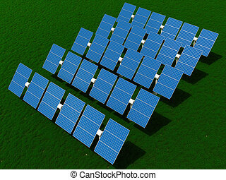Solar power plant on the field with grass