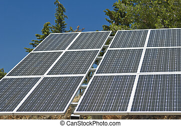 Solar power plant - Photovoltaic silicon panels with tilted...