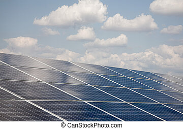 Solar power plant - Line of solar power plant panels and...