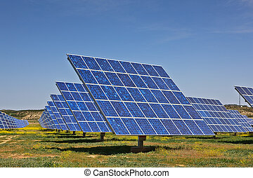 Solar panels in the power plant for renewable energy