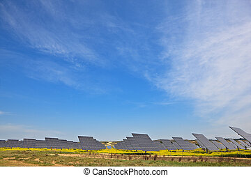 Solar power plant - Solar panels in the power plant for...