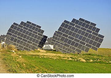 Solar power plant, modern energy in province Huelva,...