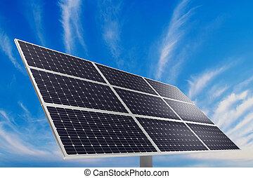Solar power plant - A photovoltaic panel. Solar power plant.