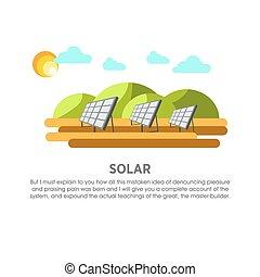 Solar power plant sunlight panel vector flat illustration -...