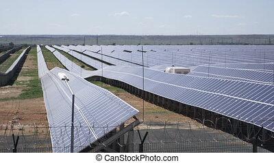 Solar power plant using photovoltaic modules.