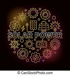 Solar power round colorful illustration. Vector energy from...